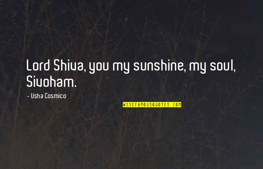 Best Hindu Religious Quotes By Usha Cosmico: Lord Shiva, you my sunshine, my soul, Sivoham.