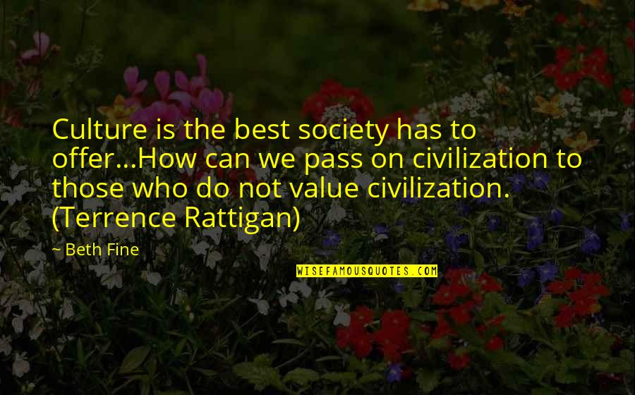 Best History Quotes By Beth Fine: Culture is the best society has to offer...How