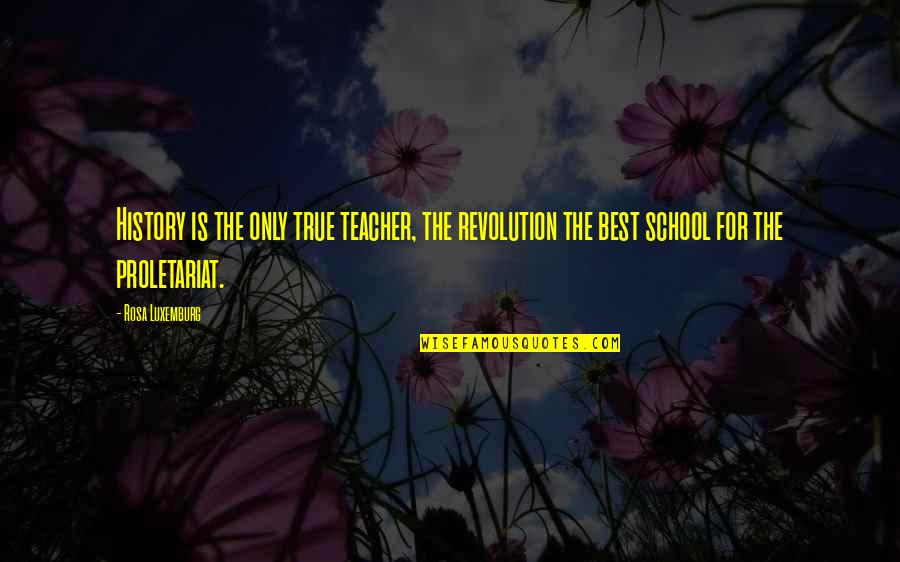 Best History Quotes By Rosa Luxemburg: History is the only true teacher, the revolution