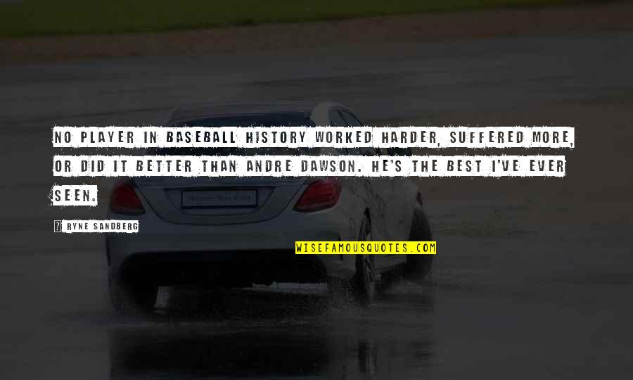 Best History Quotes By Ryne Sandberg: No player in baseball history worked harder, suffered