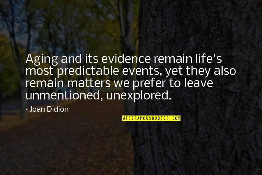 Best Joan Didion Quotes By Joan Didion: Aging and its evidence remain life's most predictable