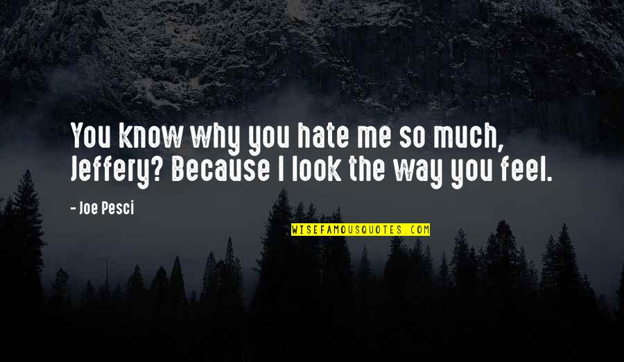 Best Joe Pesci Quotes By Joe Pesci: You know why you hate me so much,