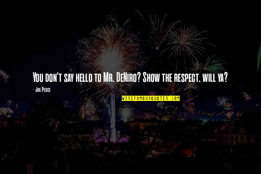 Best Joe Pesci Quotes By Joe Pesci: You don't say hello to Mr. DeNiro? Show
