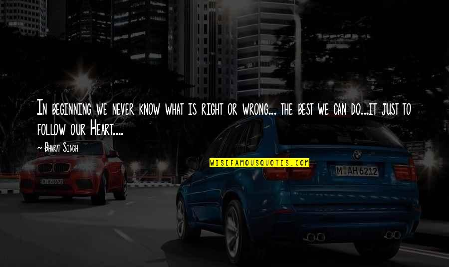 Best Just Do It Quotes By Bharat Singh: In beginning we never know what is right