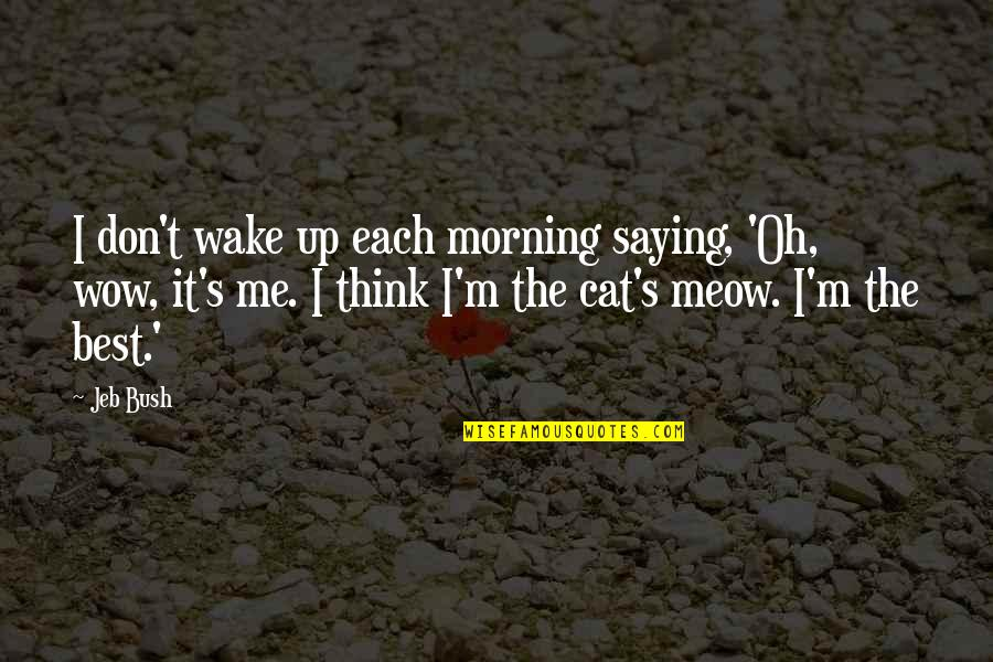 Best Meow Quotes By Jeb Bush: I don't wake up each morning saying, 'Oh,