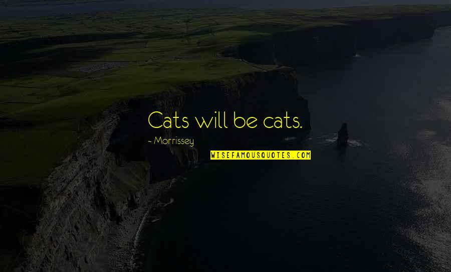 Best Meow Quotes By Morrissey: Cats will be cats.