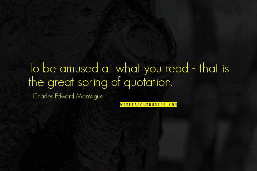 Best Montague Quotes By Charles Edward Montague: To be amused at what you read -