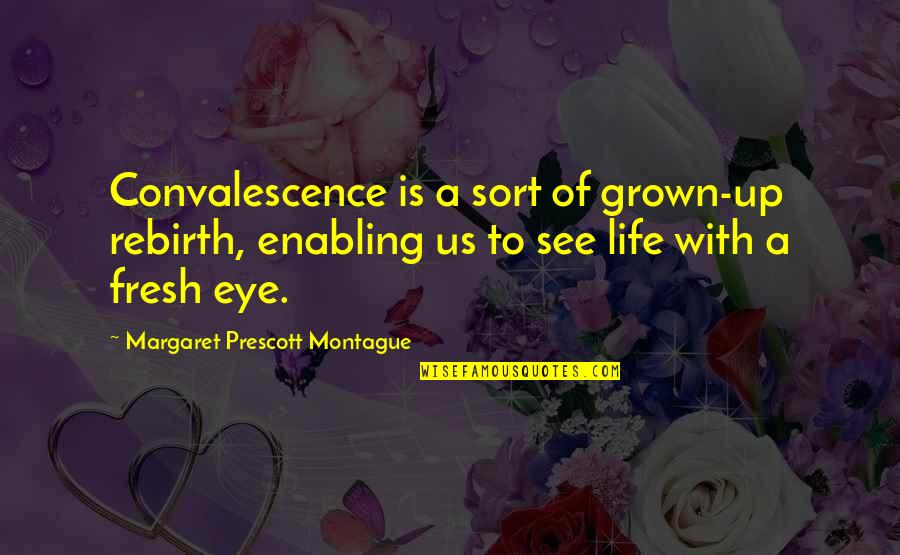 Best Montague Quotes By Margaret Prescott Montague: Convalescence is a sort of grown-up rebirth, enabling