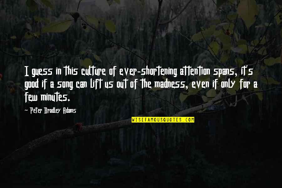 Best Musician Quotes By Peter Bradley Adams: I guess in this culture of ever-shortening attention