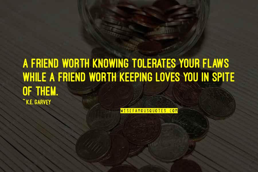 Best Novelist Quotes By K.E. Garvey: A friend worth knowing tolerates your flaws while