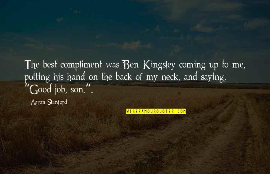 Best Of Me Quotes By Aaron Stanford: The best compliment was Ben Kingsley coming up