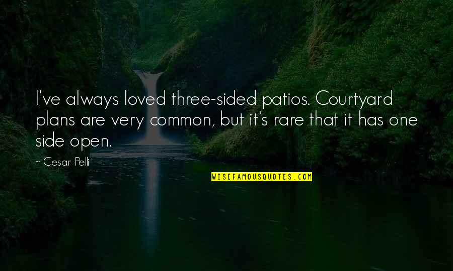 Best One Sided Quotes By Cesar Pelli: I've always loved three-sided patios. Courtyard plans are