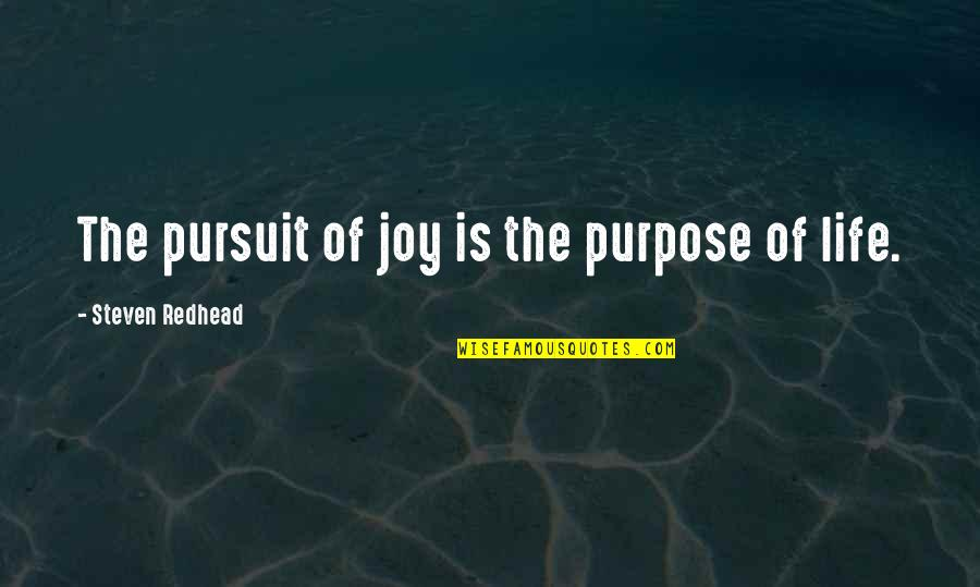 Best Part Of Being A Mom Quotes By Steven Redhead: The pursuit of joy is the purpose of