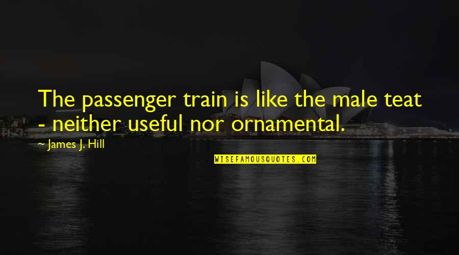 Best Passenger Quotes By James J. Hill: The passenger train is like the male teat