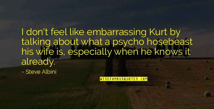 Best Psycho Quotes By Steve Albini: I don't feel like embarrassing Kurt by talking