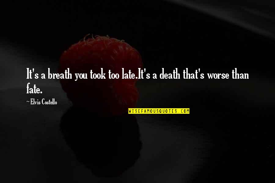Best R&b Lyric Quotes By Elvis Costello: It's a breath you took too late.It's a