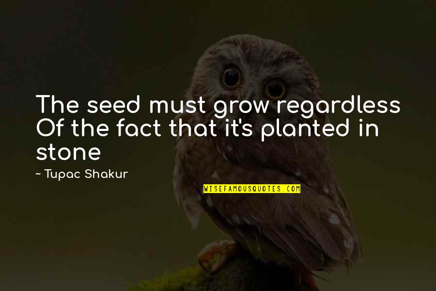 Best Regardless Quotes By Tupac Shakur: The seed must grow regardless Of the fact