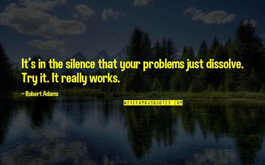 Best Robert Adams Quotes By Robert Adams: It's in the silence that your problems just