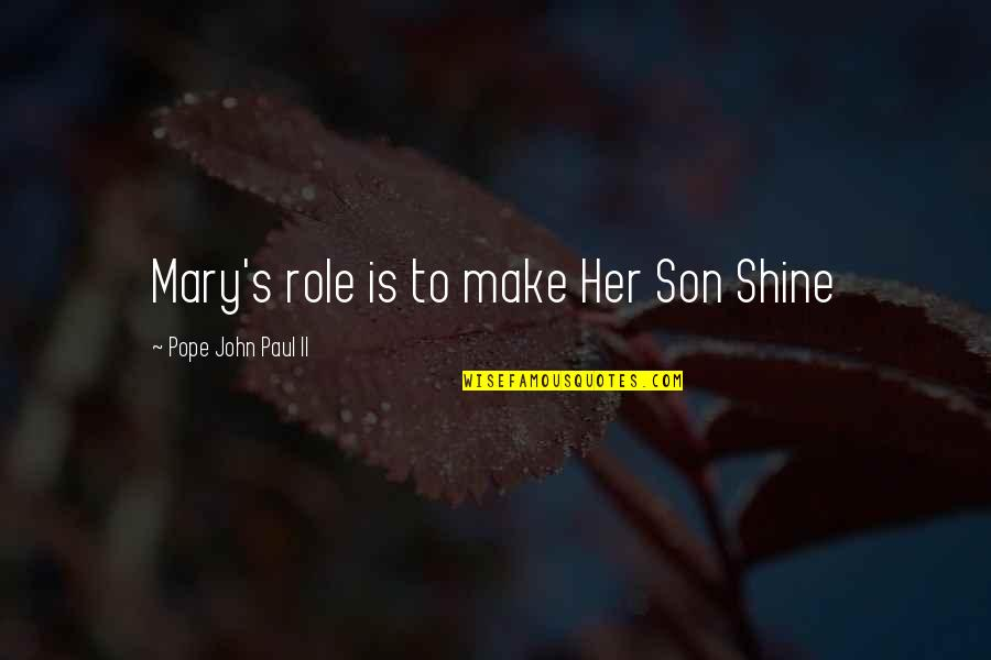 Best Rocky Inspirational Quotes By Pope John Paul II: Mary's role is to make Her Son Shine
