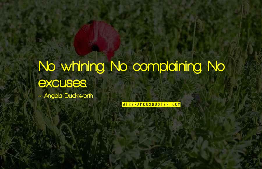 Best Seahawks Quotes By Angela Duckworth: No whining. No complaining. No excuses.