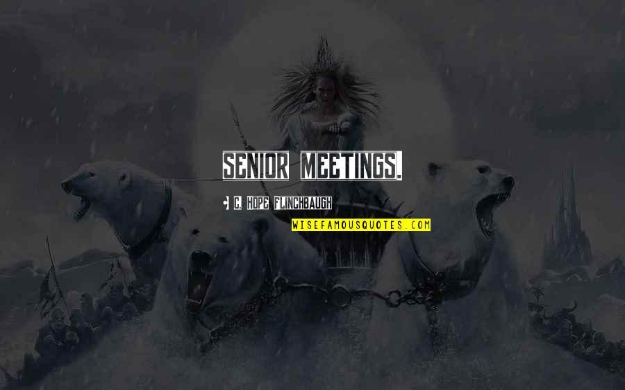 Best Senior Quotes By C. Hope Flinchbaugh: senior meetings.