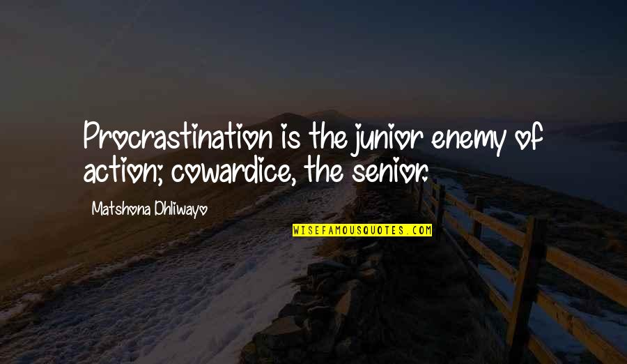 Best Senior Quotes By Matshona Dhliwayo: Procrastination is the junior enemy of action; cowardice,