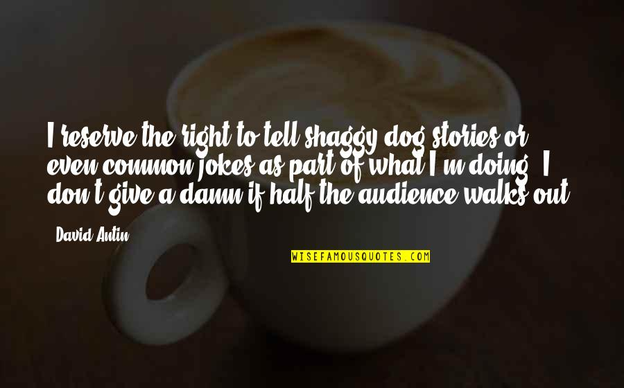 Best Shaggy Quotes By David Antin: I reserve the right to tell shaggy dog