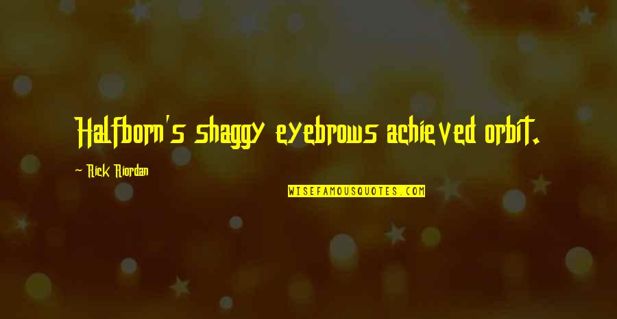 Best Shaggy Quotes By Rick Riordan: Halfborn's shaggy eyebrows achieved orbit.