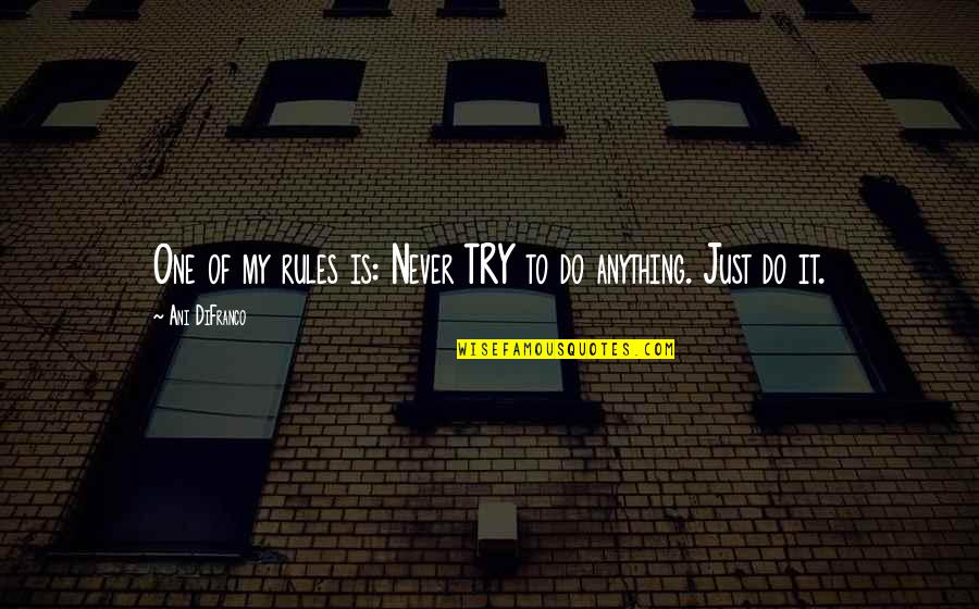 Best Skillet Quotes By Ani DiFranco: One of my rules is: Never TRY to