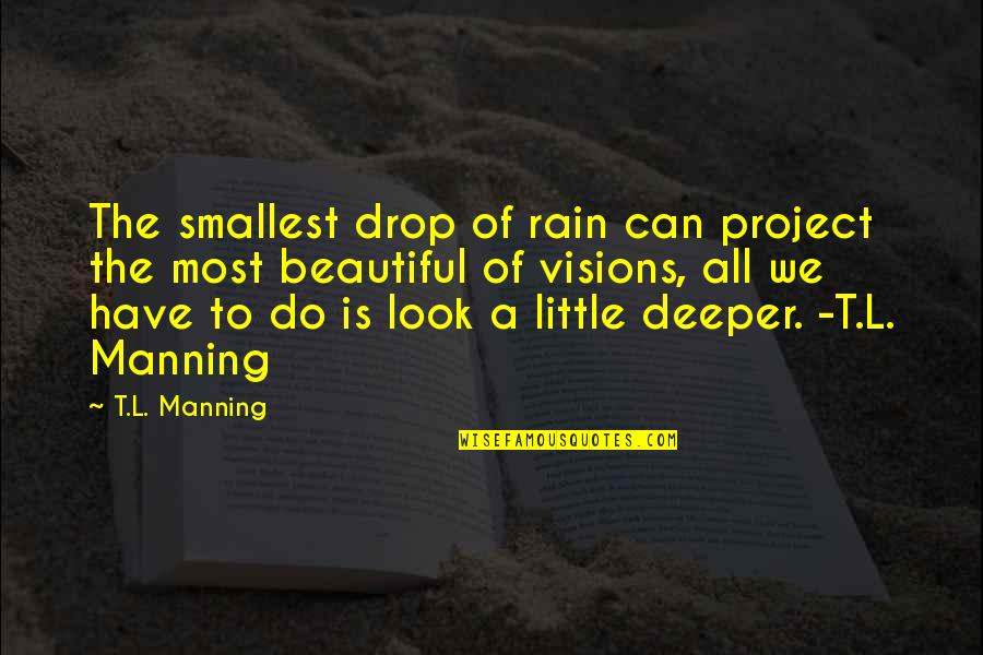 Best Smallest Quotes By T.L. Manning: The smallest drop of rain can project the