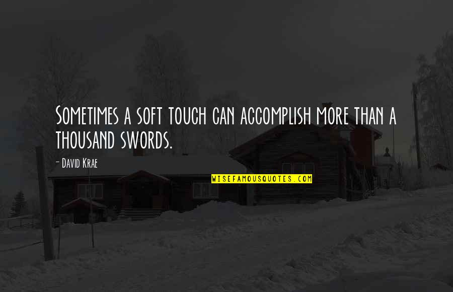 Best Song Ever Music Video Quotes By David Krae: Sometimes a soft touch can accomplish more than
