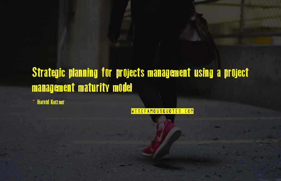 Best Strategic Management Quotes By Harold Kerzner: Strategic planning for projects management using a project