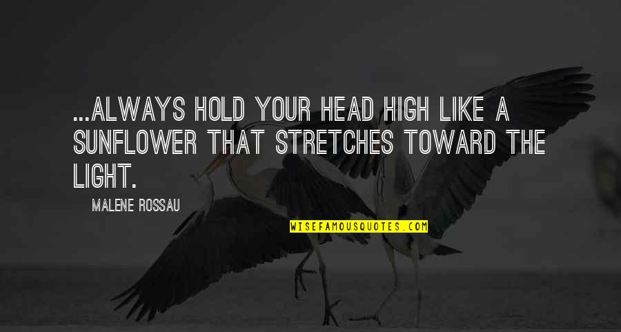 Best Sunflower Quotes By Malene Rossau: ...Always hold your head high like a sunflower