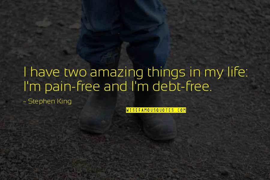 Best Things In Life Are Free Quotes By Stephen King: I have two amazing things in my life: