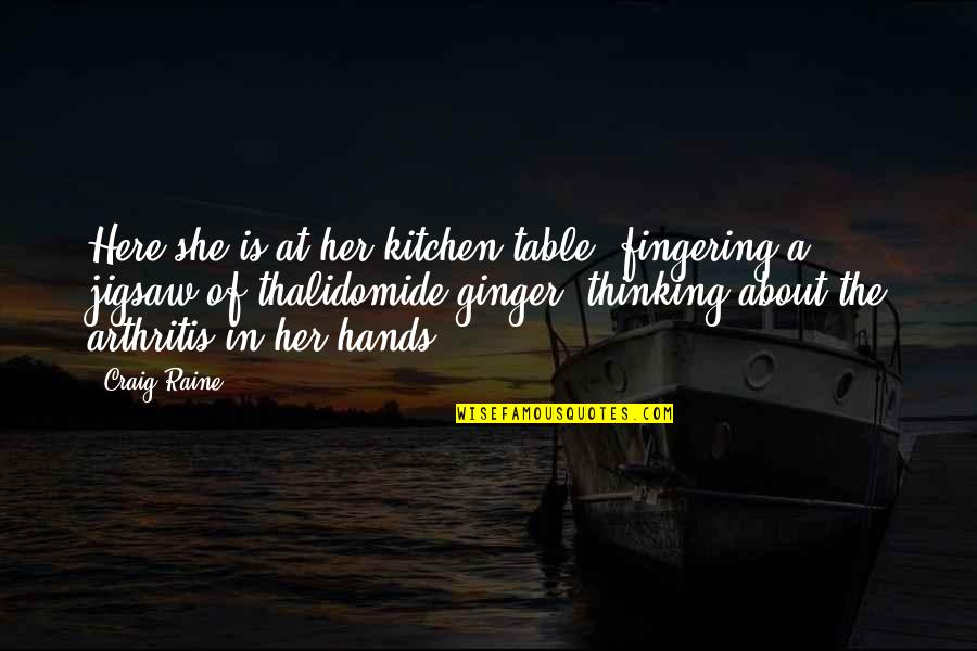 Best Thinking About You Quotes By Craig Raine: Here she is at her kitchen table, fingering