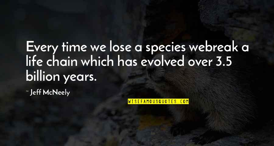 Best Time Of My Life Quotes By Jeff McNeely: Every time we lose a species webreak a