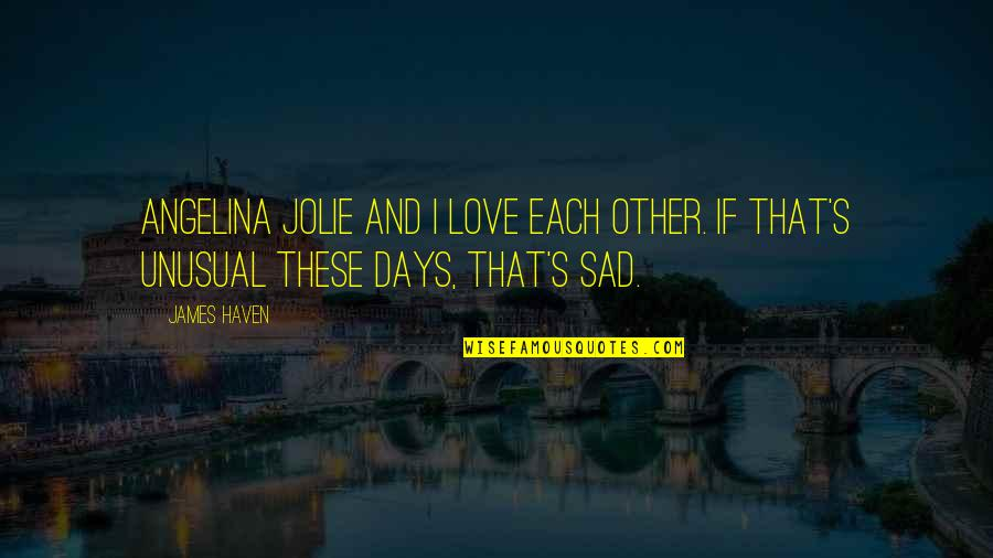 Best Unusual Love Quotes By James Haven: Angelina Jolie and I love each other. IF