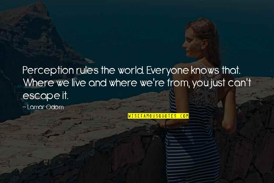 Best Urbex Quotes By Lamar Odom: Perception rules the world. Everyone knows that. Where