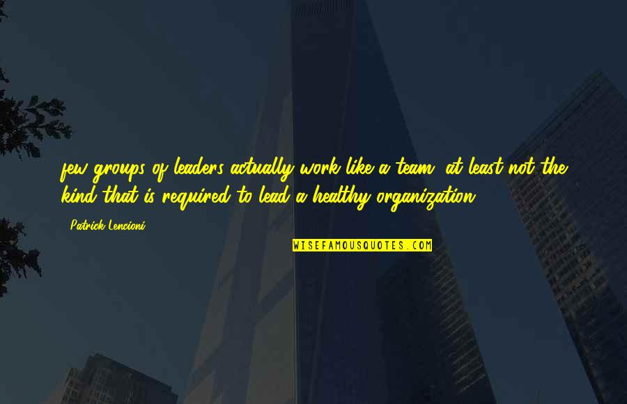 Best Usui Takumi Quotes By Patrick Lencioni: few groups of leaders actually work like a