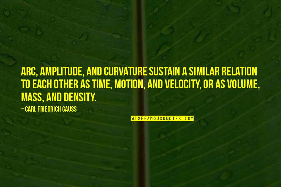 Best Velocity Quotes By Carl Friedrich Gauss: Arc, amplitude, and curvature sustain a similar relation