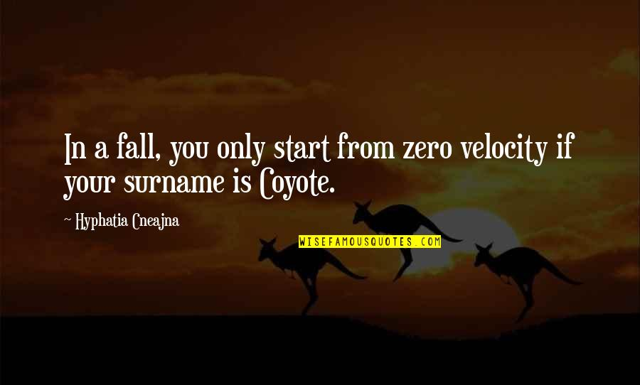 Best Velocity Quotes By Hyphatia Cneajna: In a fall, you only start from zero