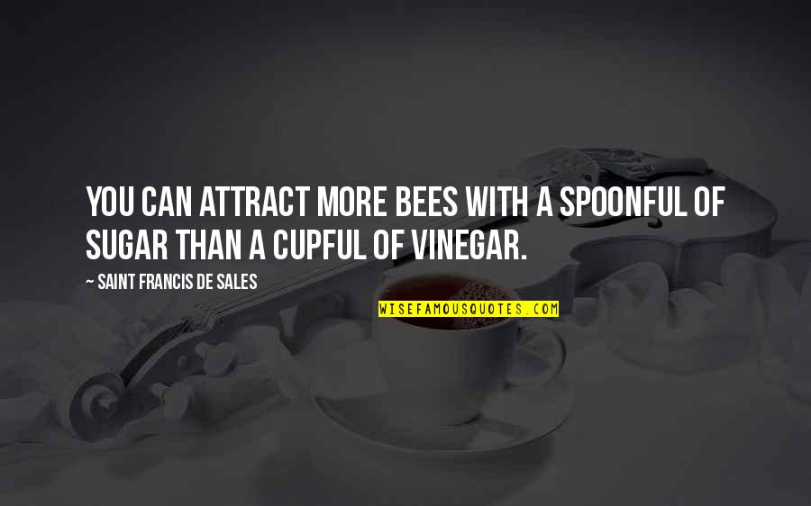 Best Vinegar Quotes By Saint Francis De Sales: You can attract more bees with a spoonful