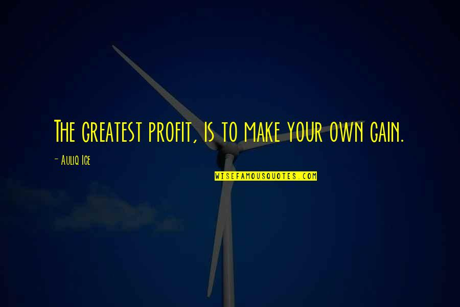Best Work Motivational Quotes By Auliq Ice: The greatest profit, is to make your own