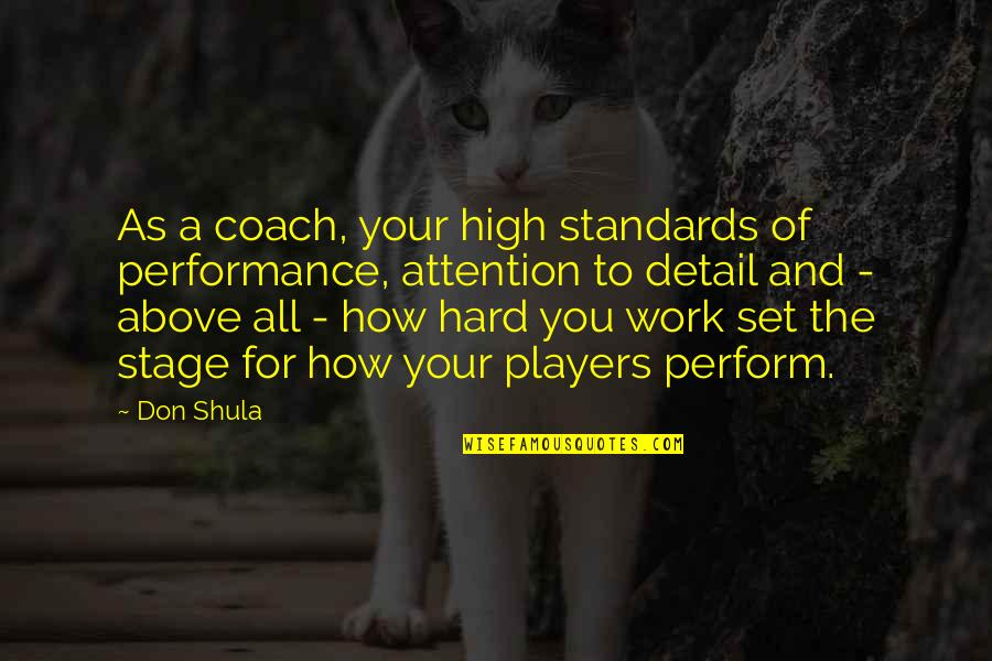 Best Work Motivational Quotes By Don Shula: As a coach, your high standards of performance,