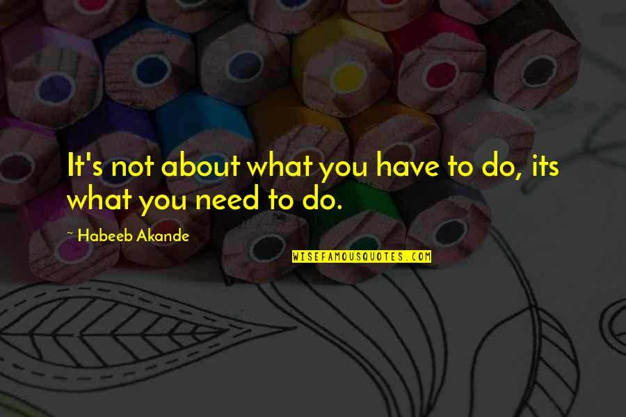 Best Work Motivational Quotes By Habeeb Akande: It's not about what you have to do,