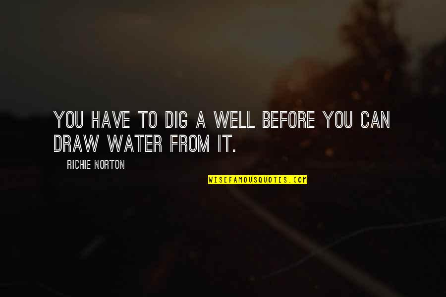 Best Work Motivational Quotes By Richie Norton: You have to dig a well before you