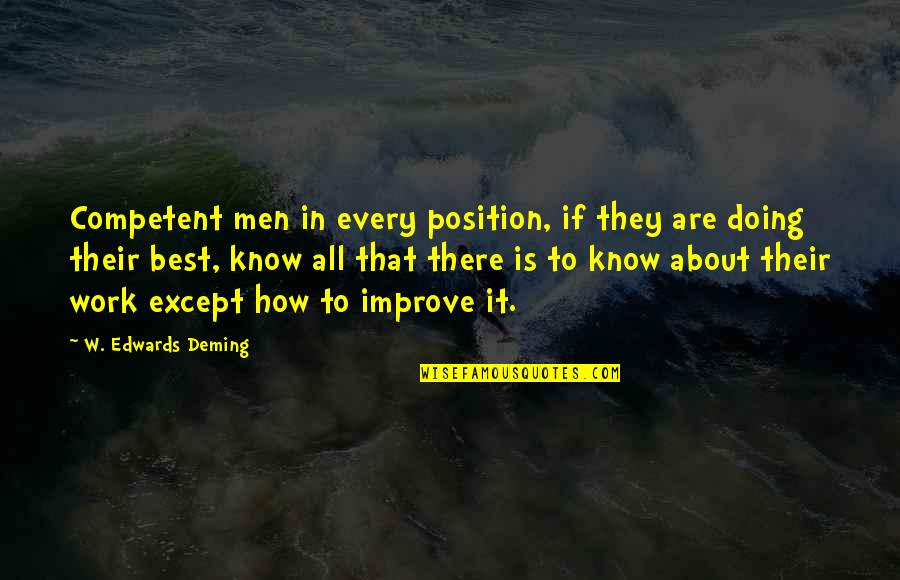 Betraying Your Wife Quotes By W. Edwards Deming: Competent men in every position, if they are