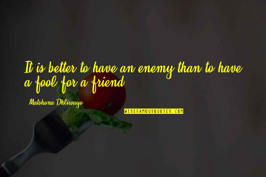 Better Have No Friends Quotes By Matshona Dhliwayo: It is better to have an enemy than