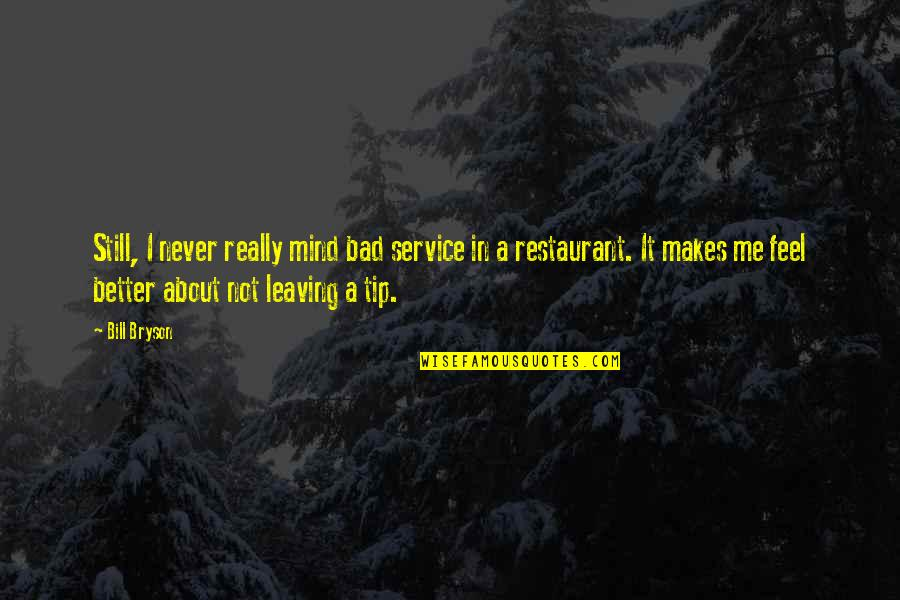 Better Now Than Never Quotes By Bill Bryson: Still, I never really mind bad service in