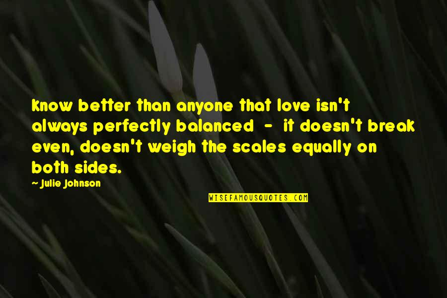 Better That We Break Quotes By Julie Johnson: know better than anyone that love isn't always